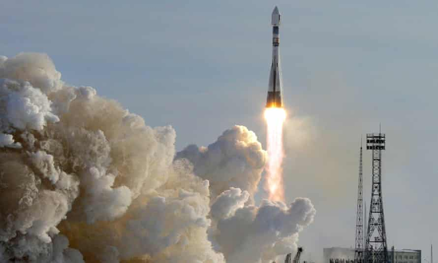 A Russian Soyuz rocket takes off at the Baikonur Cosmodrome in Kazakhstan.