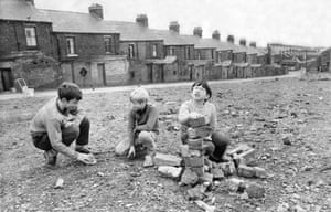 Children play on the site of demolished houses in Byker, Newcastle