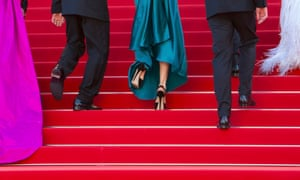 The shoes of cast members of the film Youth on the red carpet at Cannes Film Festival this year.