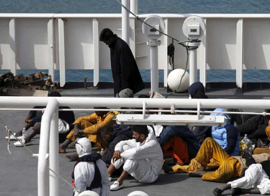 Mohammed Ali Malek, later arrested on suspicion of people smuggling, on the Italian coastguard ship Bruno Gregoretti.