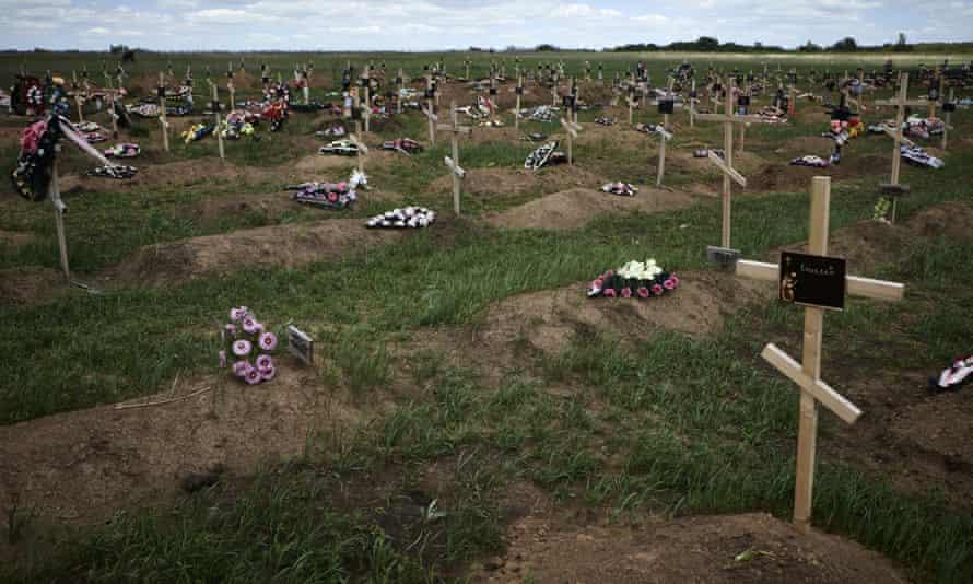 Graves of pro-Russian rebels in Donetsk, Ukraine.