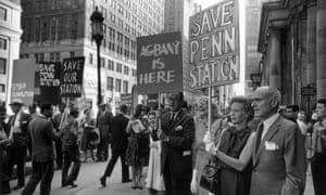 Author Jane Jacobs and architect Philip Johnson stand outside New York's Penn Station in 1963 to protest the building's demolition.