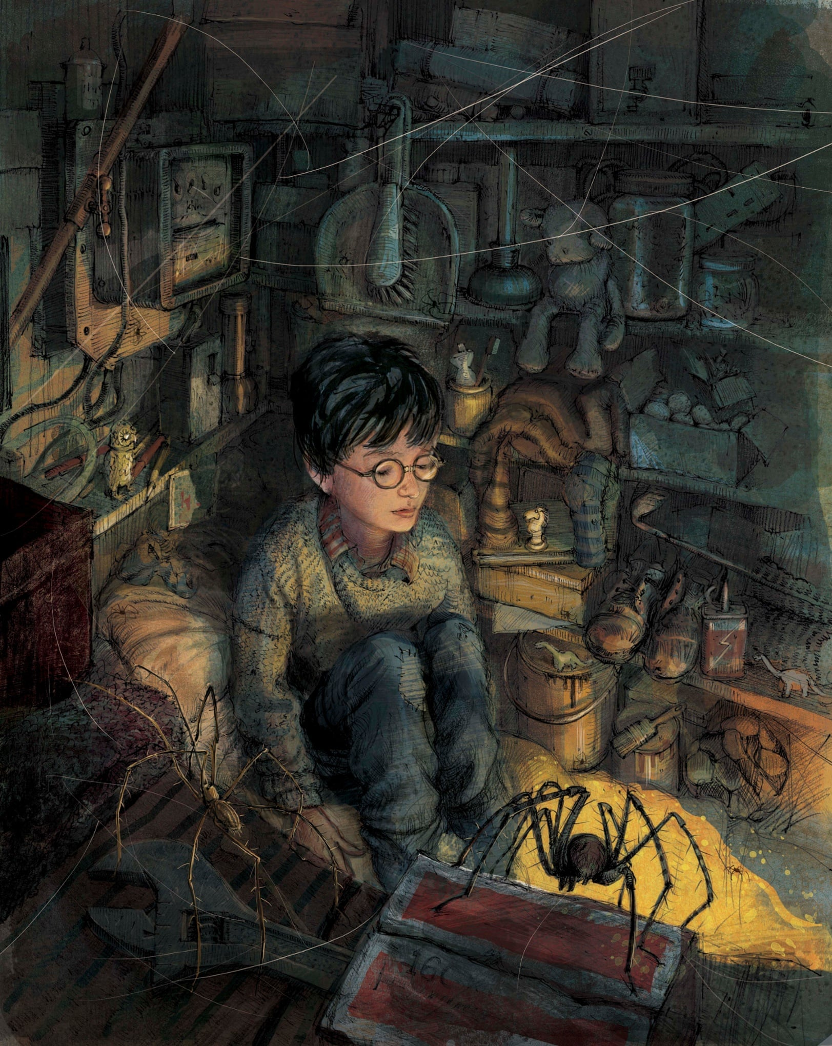 Illustration of Harry Potter in the cupboard under the stairs.