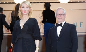 Thierry Frémaux with Cate Blanchett at the premiere of Sicario.