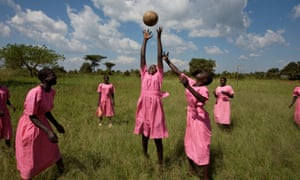 Girls, pupils of Katine primary school, play netball