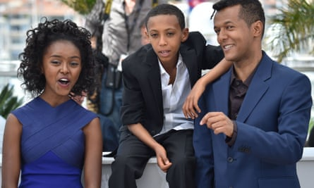 Actors Kidist Siyum and Rediat Amare, and director Yared Zeleke at the premiere for Lamb at the 68th Cannes Film Festival.