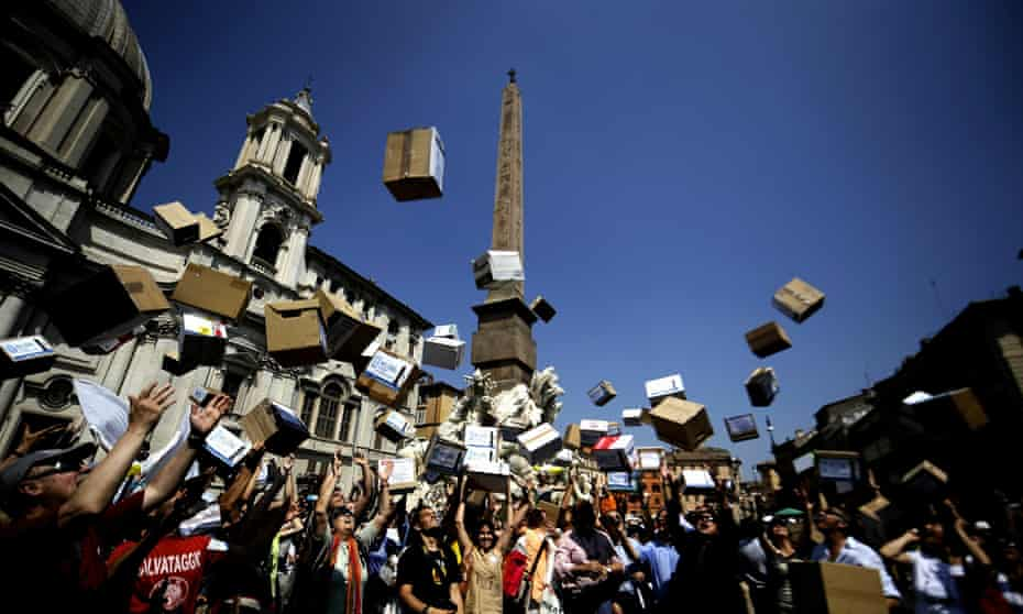 In 2010, campaigners opposed to water privatisation gathered in Rome's Piazza Navona, where they threw boxes symbolising the collection of more than double the 500,000 signatures required to hold a referendum against the proposal. The plan was ultimately rejected by Italy's constitutional court.