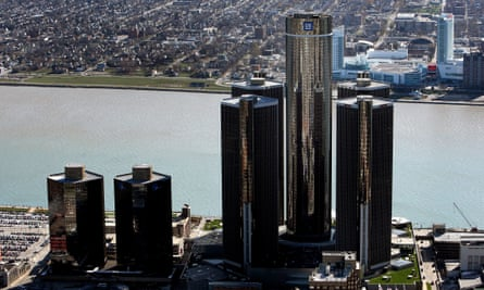 General Motors' world headquarters building stand tallest amid the Renaissance Center on Detroit's International Riverfront.