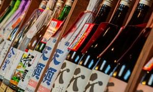 Sake bottles in a sake brewery, Takayama, Gifu Prefecture, Japan