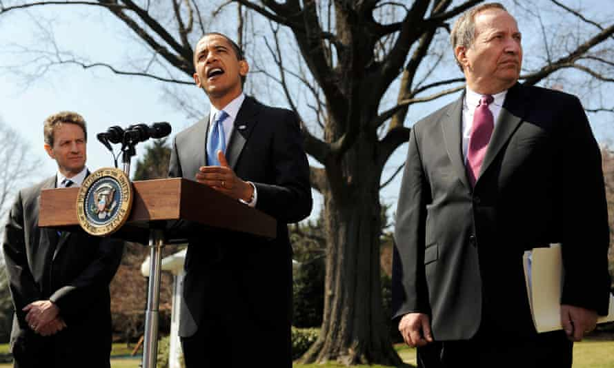 Barack Obama with former US treasury secretary Timothy Geithner, left, and Larry Summers, right, whom Stiglitz blames for the president's failure to enact more far-reaching reform.