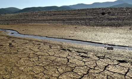 Cracked earth on the bottom of the Paljurci dam, near Bogdanci in southeastern Macedonia. This year, farmers all over the Balkans are suffering from the drought.