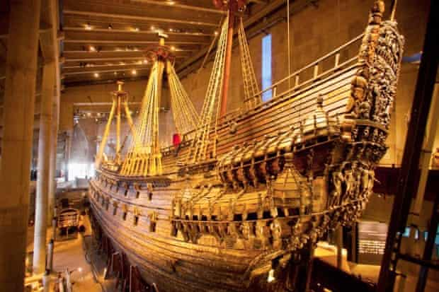 Old sailing ship on display at the Vasa museum.