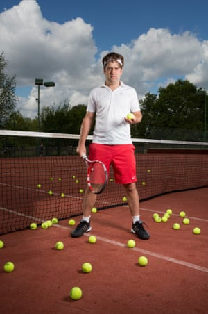 William Skidelsky photographed at his tennis club in Dulwich, south-east London.