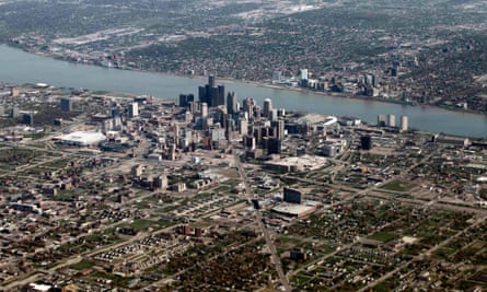 An aerial view of Detroit and the riverside Renaissance Center.
