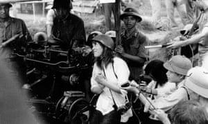 Jane Fonda sings an anti-war song near Hanoi during the Vietnam War in July 1972.