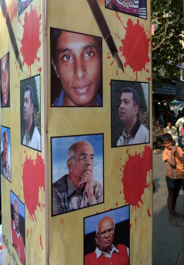 Tributes to murdered Bangladeshi bloggers at a protest meeting in Kolkata, India.