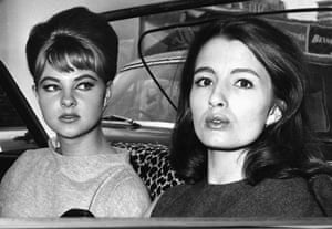 Christine Keeler and Mandy Rice-Davies, key figures in the Profumo scandal, leave the Old Bailey after the first day of the trial.
