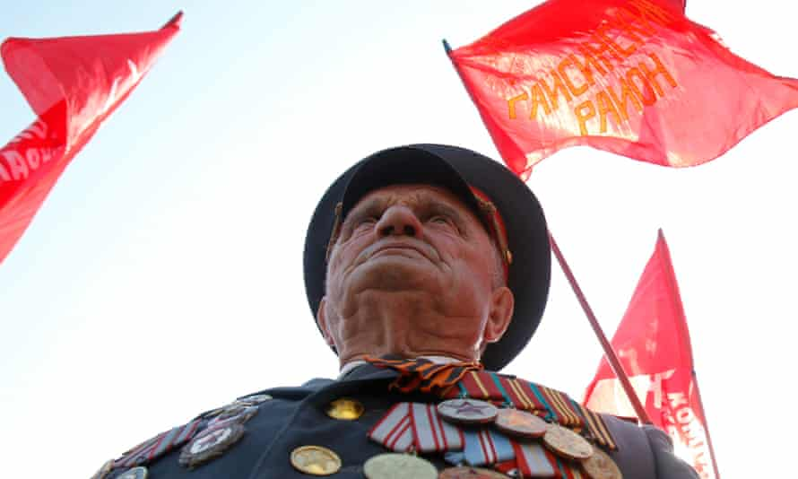 A communist supporter attending a rally in Kiev on  International Workers' Day in 2012.