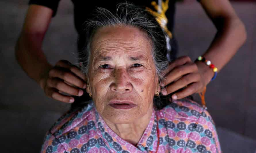A survivor of the Nepal earthquake at a temporary shelter in Sankhu on the outskirts of Kathmandu.