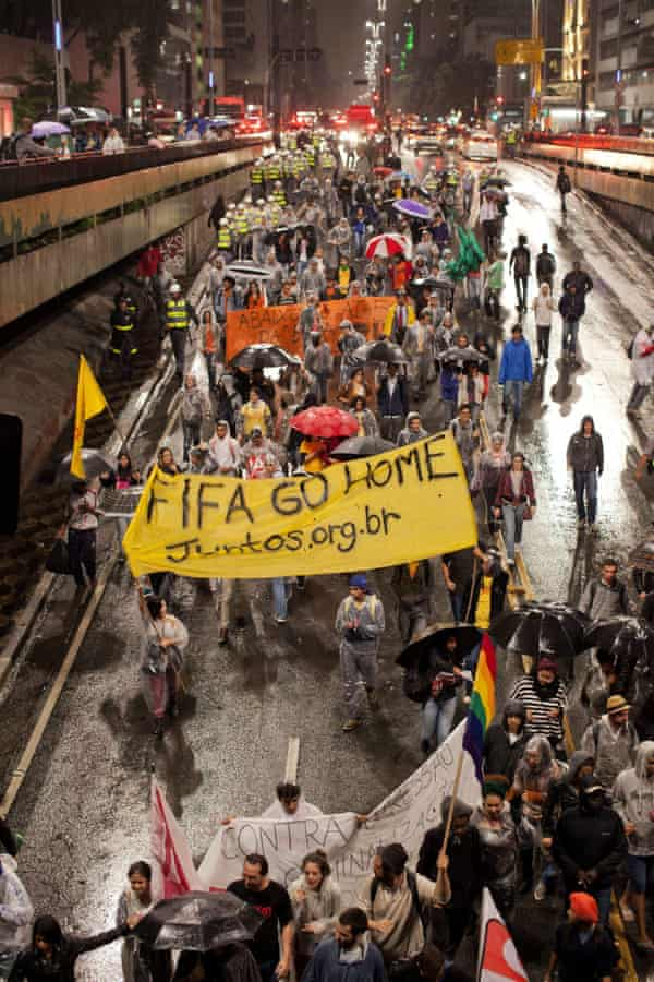 Demonstrators protest against the 2014 Fifa World Cup in São Paulo, Brazil.