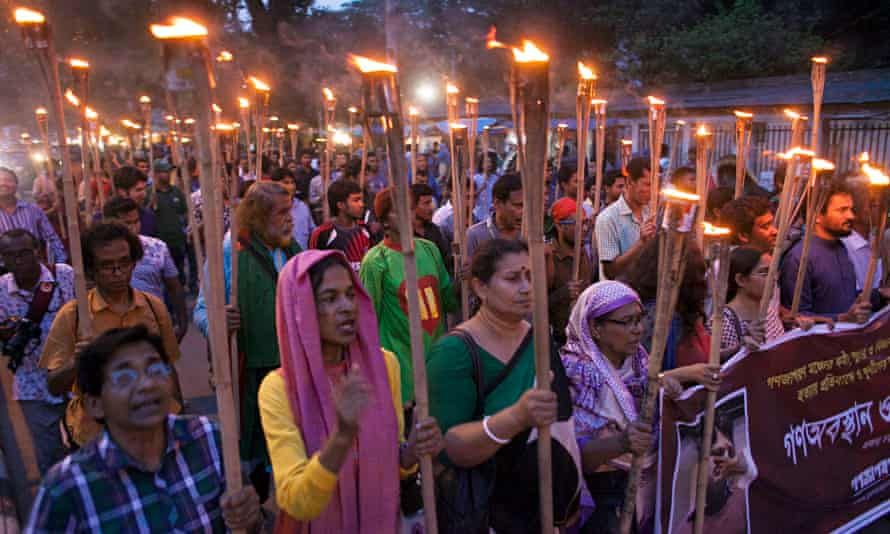 A torchlit protest against the killing of blogger Ananta Bijoy Das in Dhaka