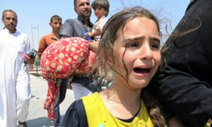 A girl flees from Ramadi with her family as Isis seized control of the town. The Obama administration is reportedly taking 'an extremely hard look' at its approach in the wake of the setback.