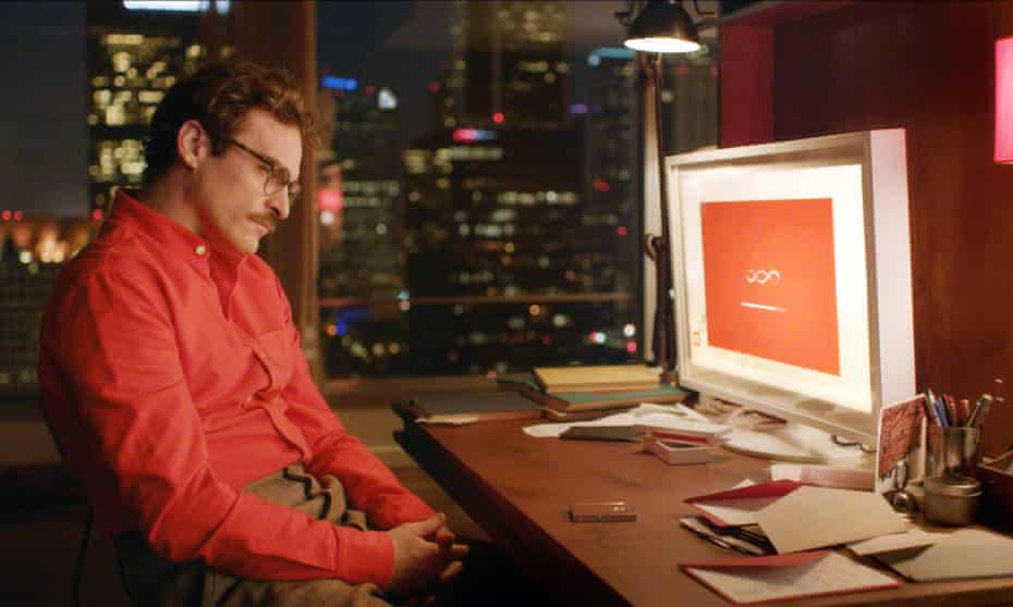 Joaquin Phoenix and his virtual girlfriend in the film Her. Professor Hinton think that there's no reason why computers couldn't become our friends, or even flirt with us.