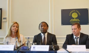 Sharon Wood, Leslie Thomas QC and Neil Shepherd at a press conference