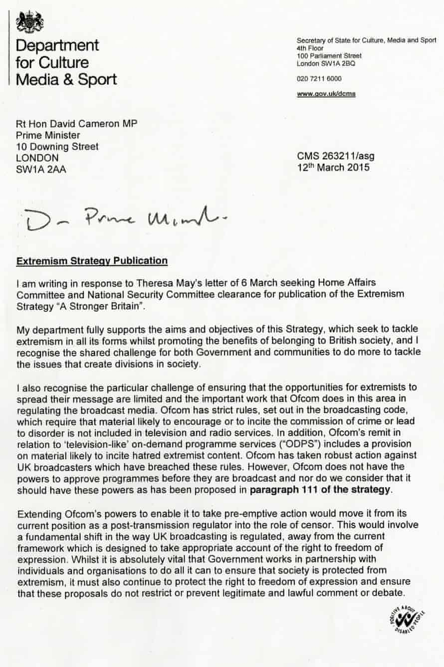 First page of Sajid Javid's letter to the prime minister