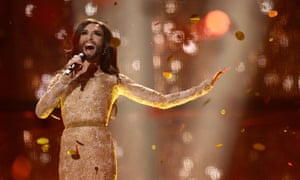 In 2014 Conchita Wurst represented Austria with 'Rise Like A Phoenix' in a relatively low key gold brocade dress