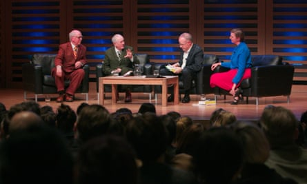 Gilbert & George, Hans Ulrich Obrist and Charlotte Higgins in conversation at a Guardian Membership event held at Kings Place, London 21 May 2015.