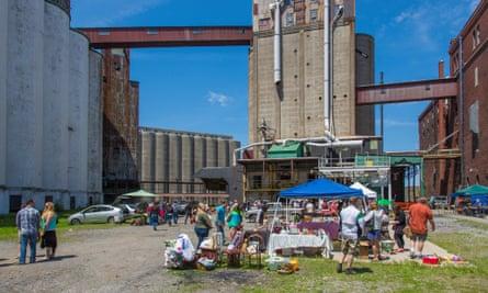 Old silos are a backdrop for popular Buffalo flea markets.