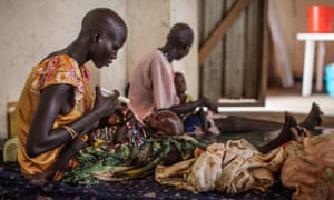 Malnourished children receive treatment last June at a Médecins Sans Frontières hospital in Leer, in South Sudan's Unity State. Rising violence has since forced NGOs to evacuate staff from the area.