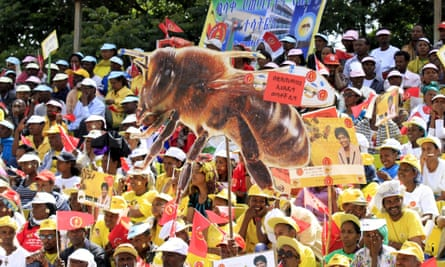Election rally by the Ethiopian Peoples' Revolutionary Democratic Front (EPRDF) in Addis Ababa, 21 May 2015.