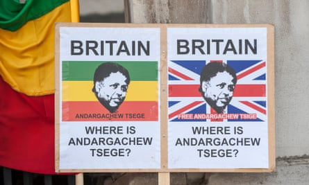 Placards belonging to protestors outside the Foreign Commonwealth Office to demand the immediate release of UK citizen, Andargachew Tsege, who is being held in incommunicado detention in Ethiopia, having been kidnapped in Yemen in June 2014.