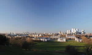 Greenwich Park with the Royal Naval College, Queens House and Canary Wharf in the distance.