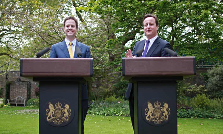 David Cameron and Nick Clegg in Downing Street garden