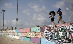 Palestinians at the sea port in Gaza City