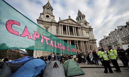 occupy london camp st pauls london banner capitalism is crisis