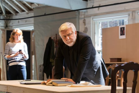 Rebecca Humphries and Simon Russell Beale as the Dean in rehearsal for Temple.