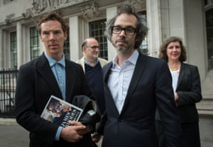 Rhodes leaves the Supreme Court in London with Benedict Cumberbatch after winning the right to publish his autobiography.