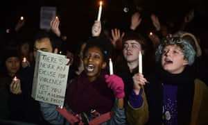 Demonstration in London protesting death of Michael Brown