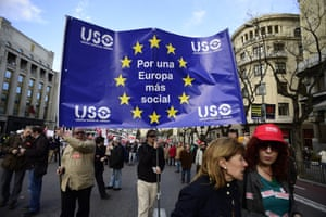 Protesters hold a pro-EU banner at a demonstration in Madrid, Spain.
