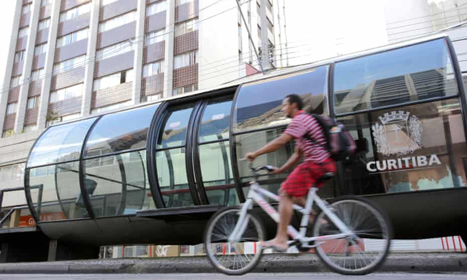 Curitiba's 357 tube-shaped stations connect the city's bus rapid transit system.