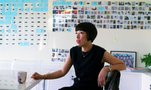 Angelica Cheung, editor-in-chief of Vogue China (right) discusses editorial issues with Daniela Paudice, fashion director, in her office in Beijing.