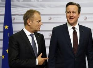 European council president, Donald Tusk, left, with British prime minister, David Cameron