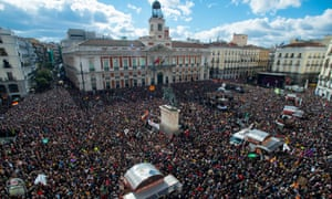 Podemos supporters gather at Puerta del Sol in Madrid. According to recent opinion polls the anti-austerity leftwing party has wider support than the traditional parties of Spain