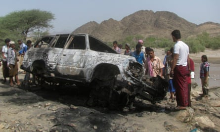 The remains of a drone strike in southern Yemen, August 2013.