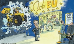 Cartoon by David Simonds showing business community divided about membership of the EU club.