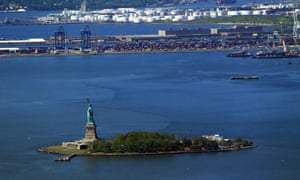 The view of the Statue of Liberty from One World Trade Center